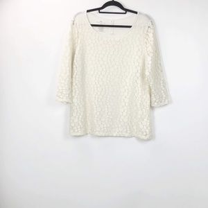 Talbots Ivory Circle Lace Top